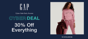Gap Cyber Sale: Get Flat 30% OFF + Extra 10% Discount on Sitewide